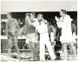 Success! In this shot from the1979 Pan Am Games, David has his hands in the air thanks to a bronze-medal finish.