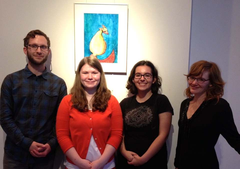 From left to right, André Morson, Leah Cosman, Maia Weintrager and Abby Karos at Fritzi Gallery for the Of Reverie art show.