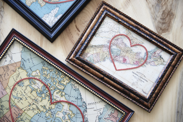 You'll find vintage embroidered heart maps by Sadie & June at Maker House Co.